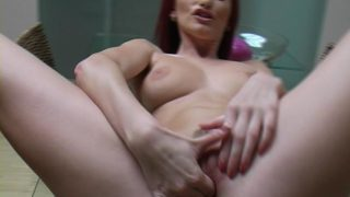 Auburn Haired Superstar Claudia Adams Opening Up And Draining Her Juicy Coochie At The Desk