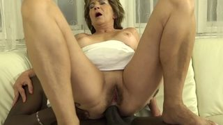 Grandmother Unshaved Vag Milks Screws Dark-hued Dude Manhood
