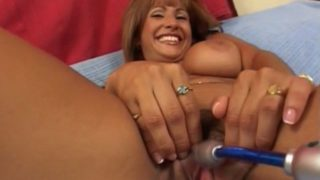 Smirking Big-titted Cougar Estrella Spangled Getting Rosy Fuckbox Taunted With A Plaything