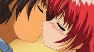 Flamy Crimson Haired Anime Gal Making Enjoy Together With Her Beau