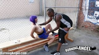 Searing Angel Thick Titted Goth Bi-racial Gargle And Poke